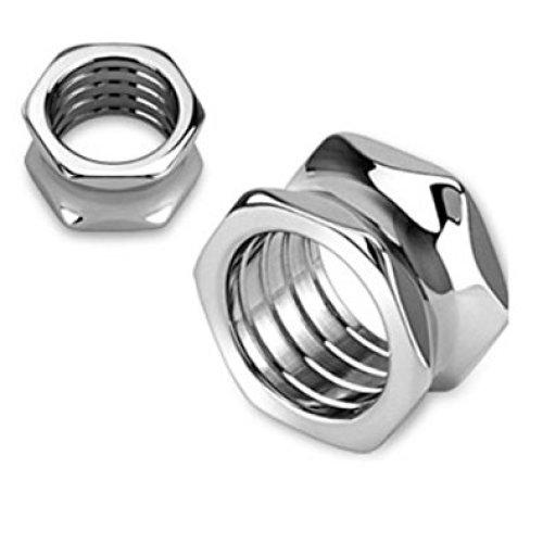 Hexagon Screw Bolt Hollow Surgical Steel Flesh Tunnel Ear Saddle Plug Earring