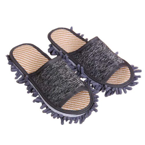 [Grey] Creative Detachable Mop Slippers Floor Cleaning Slippers