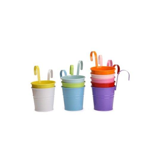 10pc Dipamkar Colourful Metal Hanging Plant Pots | Colourful Plant Pots