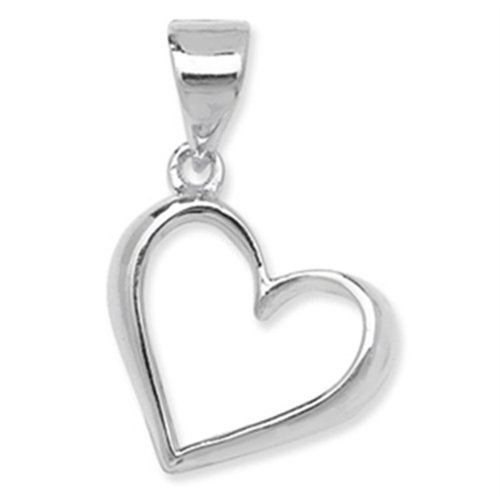Sterling Silver Plain Open Heart Pendant On A Snake Necklace