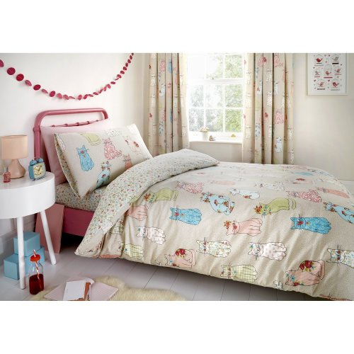Bedlam - Cheeky Cats - Childrens Duvet Cover Set | Single Bed Size | Multicolour Bedding