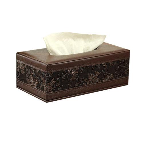 Leather Retro Tissue Holder Paper Box Rectangle-Flower Pattern/Brown
