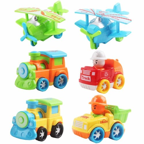 deAO Sorted Push and Go Friction Powered Vehicle Variety Pack Playset – Great Gift for Kids