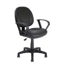 TIMOR Medium Back Leather Faced Operator Office Chair by Eliza Tinsley 2142MBALBK