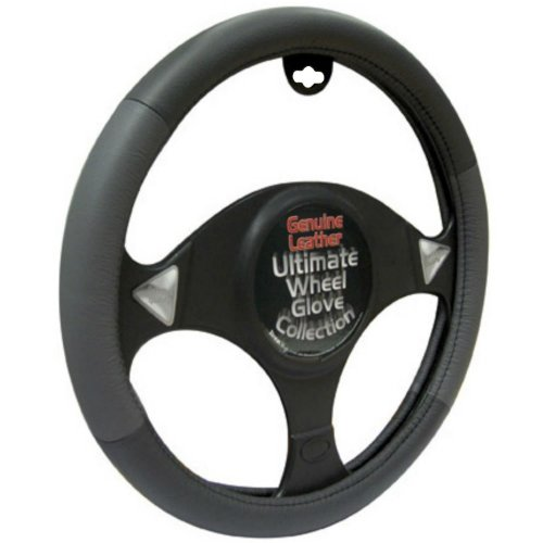 Ultimate Black/ Grey 100% Leather Steering Wheel Cover - Universal 37cm - 39cm