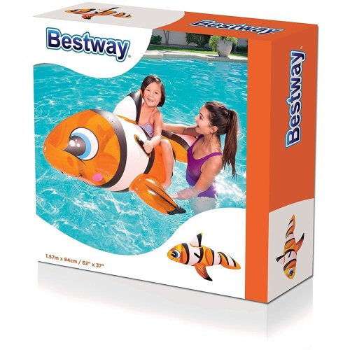 Bestway 41088B Inflatable Pool Float, Clown Fish Ride on Lilo Lounger