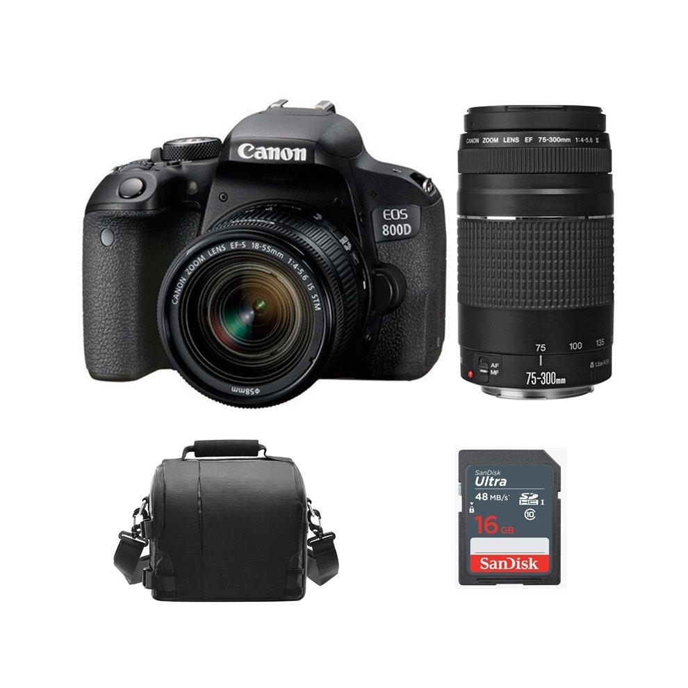 CANON EOS 800D +EF-S 18-55mm F4-5 6 IS STM+EF 75-300mm+Bag+16G SD card