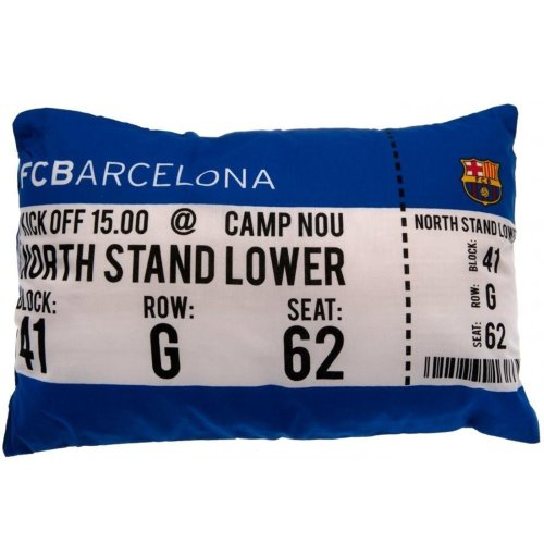 Barcelona FC Football Club Match Day Tickets Plush Padded Cushion Pillow Bedding