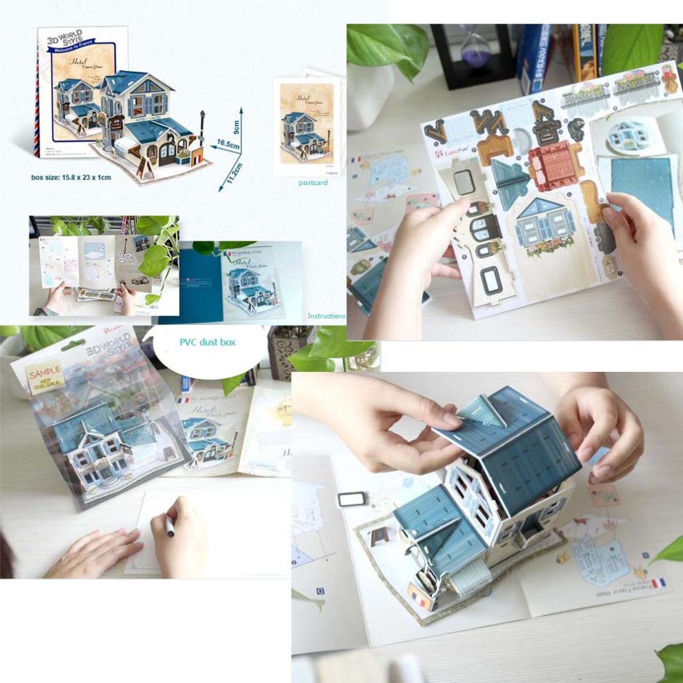 Diy Famous Buildings 3D Puzzle Paper Model Assembled Cabin House Toy