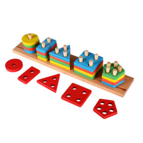 Wooden Early Educational Multicolor Lovely Block Puzzle Toys For Baby