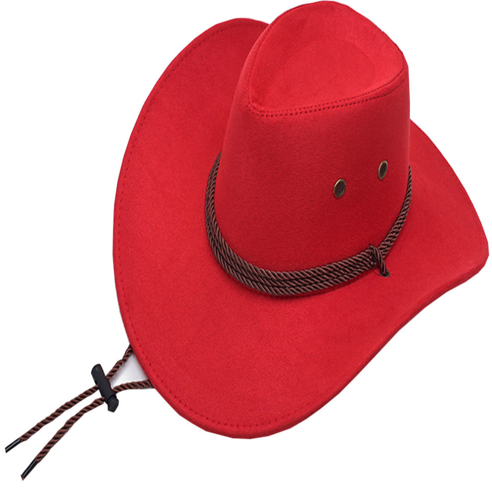 58cm Winter Hat for Men Western Cowboy Hat Sun Hat Wide Brim Hat with  Strap, Red