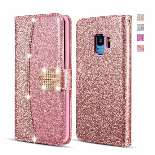buy online 9b11d bbcc2 UEEBAI Case for Samsung Galaxy A5 2017, Premium Bling Glitter Glossy PU  Leather Wallet Case Flip Cover with [Diamond Buckle] [Card Slots]  [Magnetic...