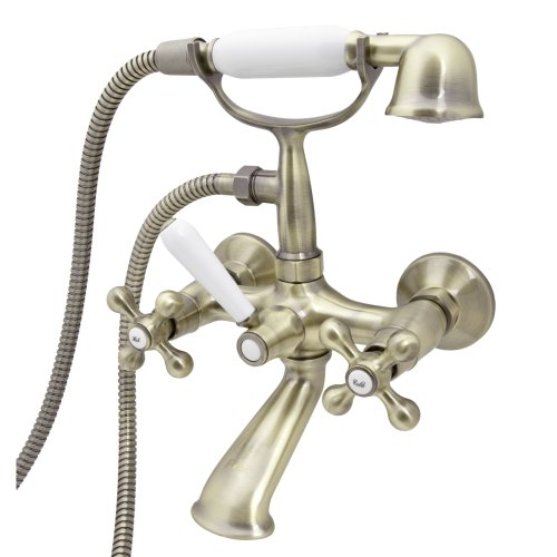 Retro Elegant Wall Mounted Antique Brass Bathroom Tap with Shower Loge Luxor 4