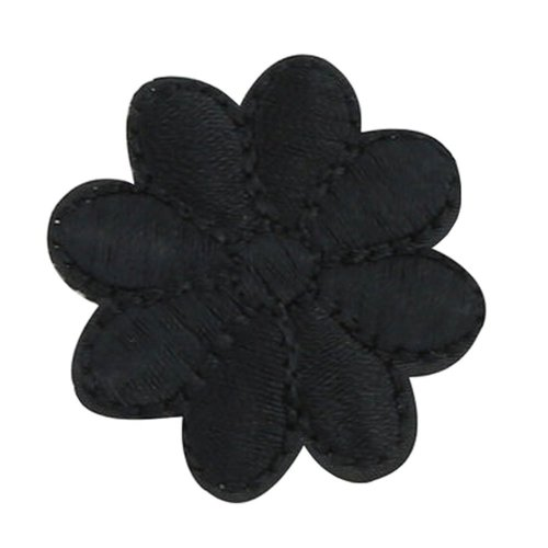 12PCS Embroidered Fabric Patches Sticker Iron Sew On Applique [Flower Black]