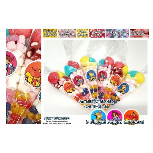 10 x Pre Filled Superhero Sweet Cones 50 grams - Party Bag Sweets