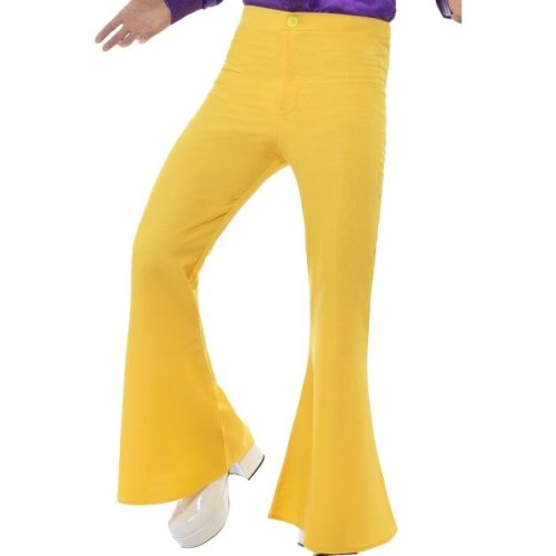 Smiffy's 48192l Flared Men's Trouser (large) -  mens flared trousers disco fancy dress costume flares adult 70s 60s hippy yellow