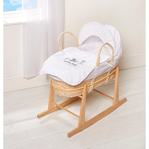 Tatty Ted Eco Maize Moses Basket & Free Pine Rocking Stand