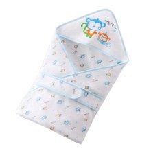 Lovely Monkey Baby Receiving Blankets Summer Hooded Swaddleme, Blue