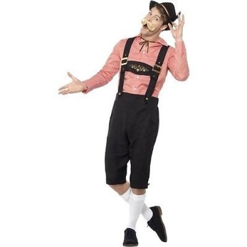 Bavarian Beer Guy Costume, Red, With Shirt & Mock Suede Lederhosen -  german bavarian beer guy costume oktoberfest mens fancy dress outfit mxl