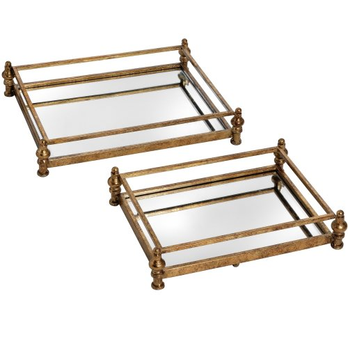 Hill Interiors Antique Gold Cocktail Trays (Set Of 2)