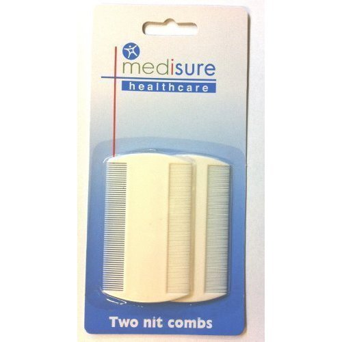 Medisure Nit Comb White 2 Pack -  nit pack combs medisure head 2 lice sided double twin fine toothed