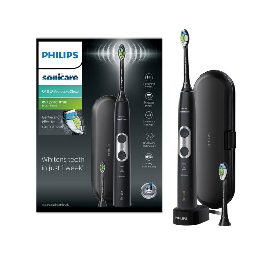 Philips Sonicare ProtectiveClean 6100 Electric Toothbrush with Travel Case, 3 x Cleaning Modes, 3 Intensities & Additional Toothbrush Head - Black...