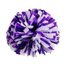 2 Of Metallic Foil & Plastic Ring Pom Poms Cheerleading Poms PURPLE+SILVER