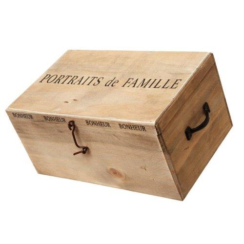 Picture Albums in Wooden Box Portrait De Famille Photo Storage Chest