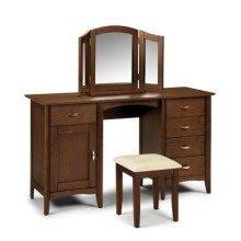 Minu Wood Dressing Table Double Pedestal Wenge Finish Fully Assembled Option