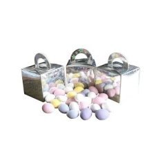 Pack of 12 Sugar Almond Filled Holographic Star Silver Cube Balloon Weight Favour Boxes