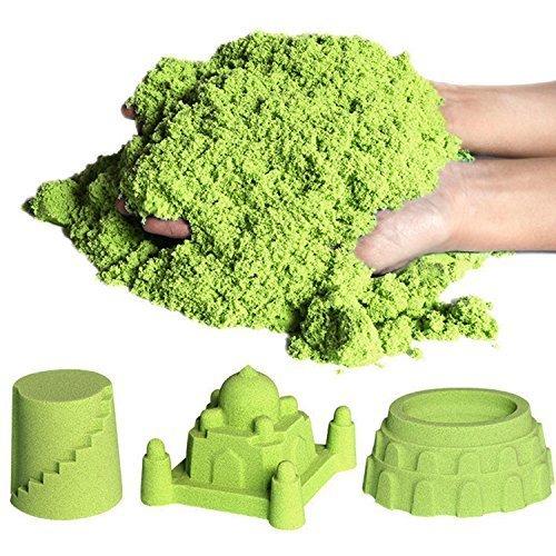 7TECH Sensory Fluorescent Sand Magic Kinetic Glow in the Dark Green 1 lb with 5 Random Molds
