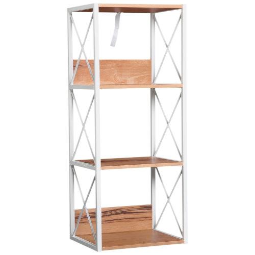HOMCOM 4-Tier Multi-Use Wooden Shelf Rack Display Stand Bookcase Freestanding Storage Utility Multifunctional Holder Home Organiser