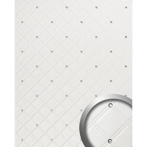 WallFace 15044 CRISTAL ROMBO Wall panel self-adhesive leather white 2.6 sqm