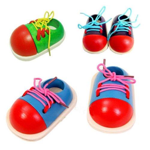 Tinksky Wooden Toy Tie-Up Shoe Kids Learnimg Toys (Random Color)