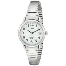 Timex Women's Silver Stainless-Steel Quartz Watch with White Dial (T2H371)