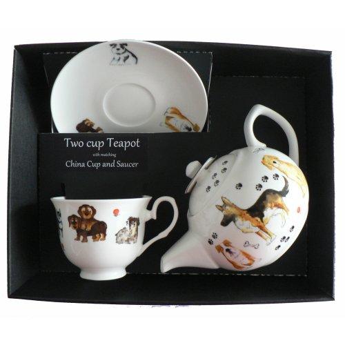 Dog Teapot cup & saucer set.  Porcelain teapot,china cup & saucer in box