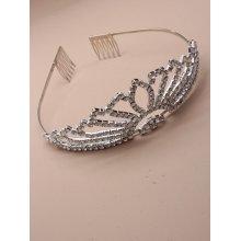Vintage Plated Flaired Crystal Wedding Tiara
