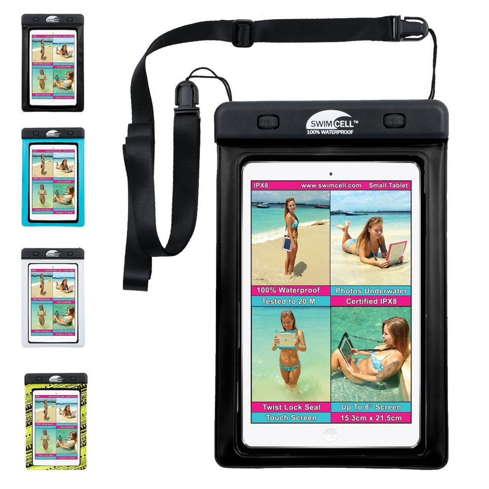 #1 Waterproof Case for iPad mini, Tablet, Kindle, Camera, Documents and  other Valuables  Large and Small size  SwimCell High Quality  For beach,
