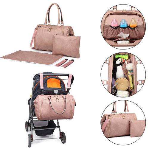 Miss Lulu 3 Pieces Baby Nappy Diaper Changing Bag PU Leather Pink