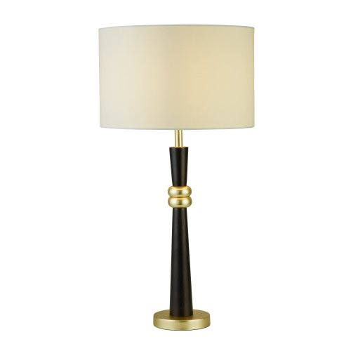 Searchlight Sylvian 1 Light Table Lamp Dark Wood And Gold With Cream Shade