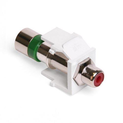 Leviton 40782 RRW QuickPort Compression RCA Connector Red Insert White