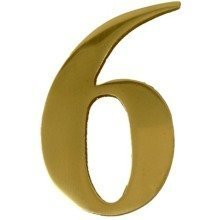 Brass Door Number 6 Self Adhesive