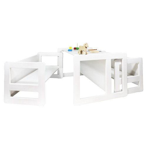 Obique Multifunctional Furniture Set of 3, 2 Benches & 1 Table, White