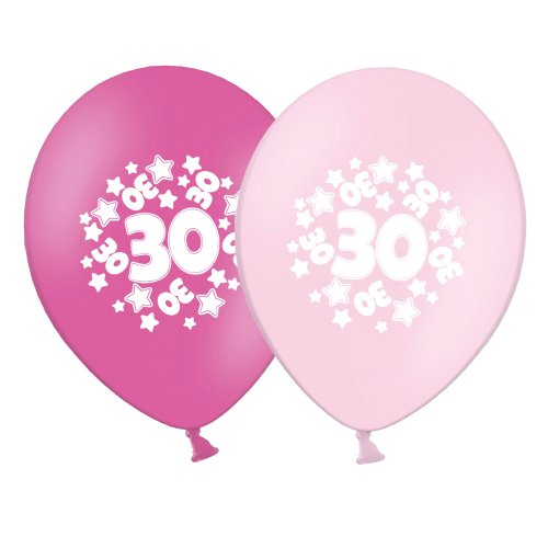 """number 30 - stars -  12""""  Pink Assortment Latex Balloons pack of 25"""