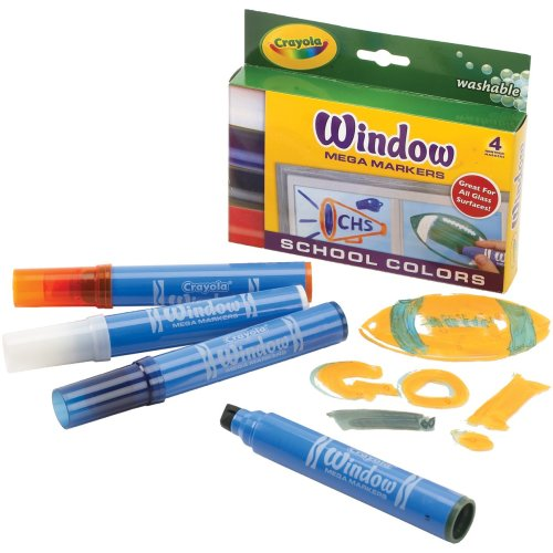Crayola Washable Window Mega Markers-School Colors 4/Pkg