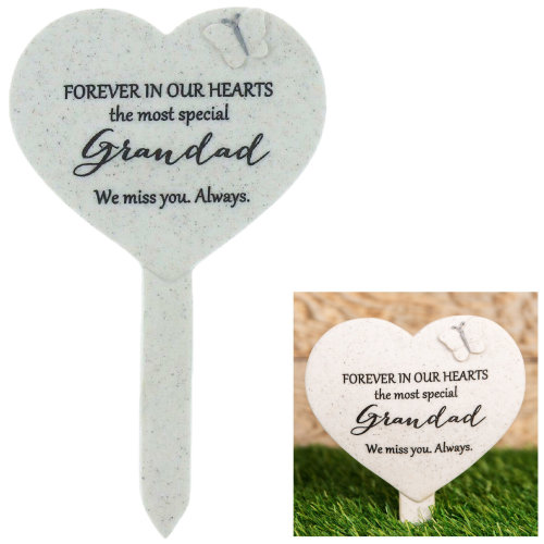 Thoughts Of You 'Heart' Graveside Stake - Grandad
