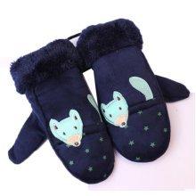 Flower Children Gloves Knit Warm Khaki Neck Hung Mittens