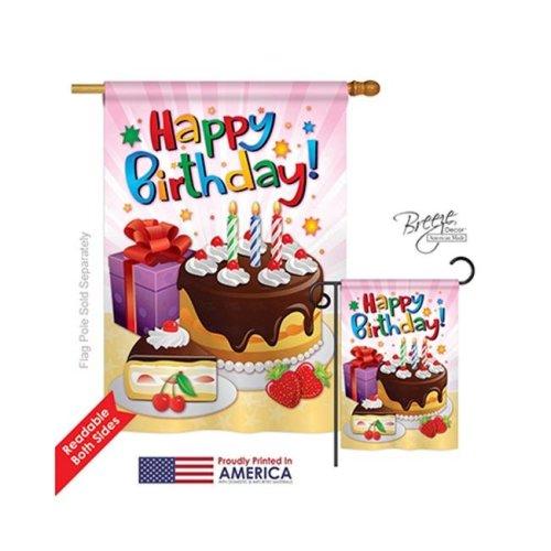 Breeze Decor 15073 Party & Celebratio Happy Birthday 2-Sided Vertical Impression House Flag - 28 x 40 in.