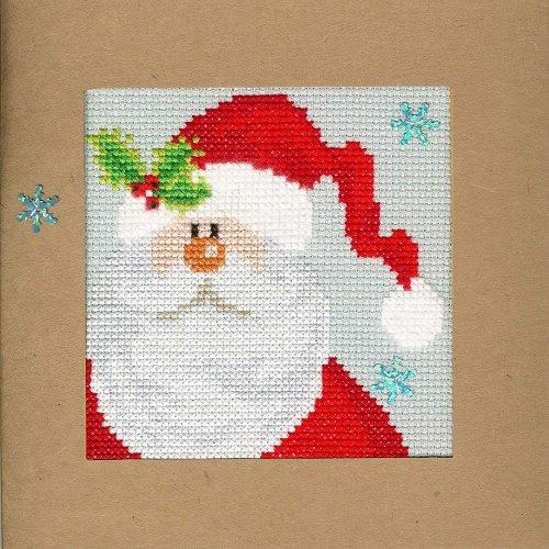 Bothy Threads Cross Stitch Kit - Christmas cards :   Snowy Santa XMAS15