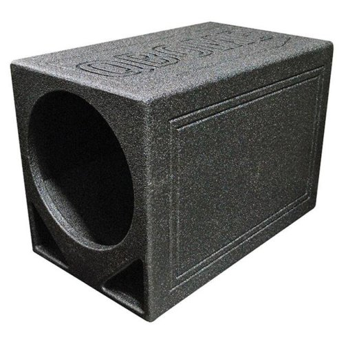 Qpower QBOMB12TBSINGLE 12 in. Single Triangle Ported Finished with Bed Liner